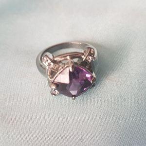 Purple and rhinestone ring